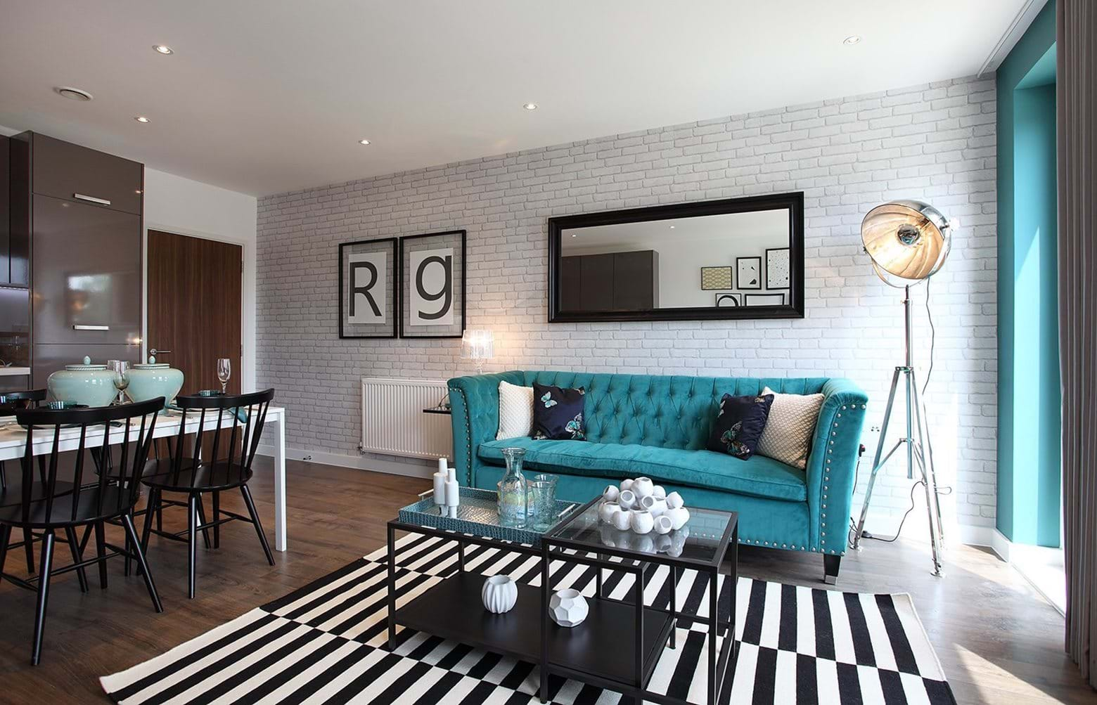 Show home living room at Canons Row