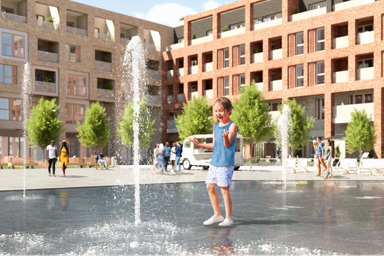 Computer Generated Image of Cygnet Square at Southmere
