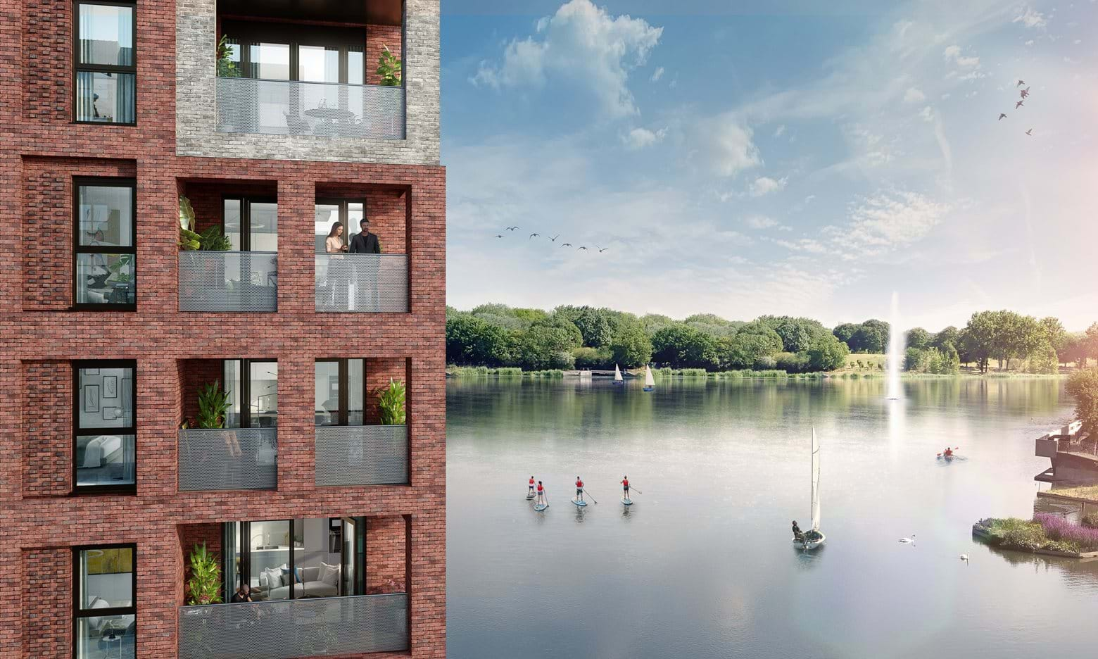 Computer Generated Image of Southmere Lake which will include a new boating club