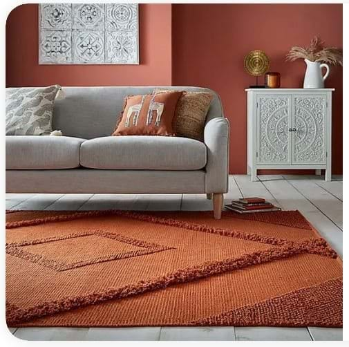 Contemporary furniture with Autumnal paint and rug